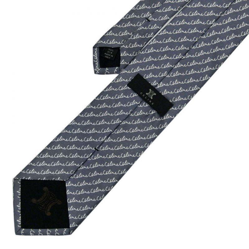 Серый шёлковый галстук с надписями Celine