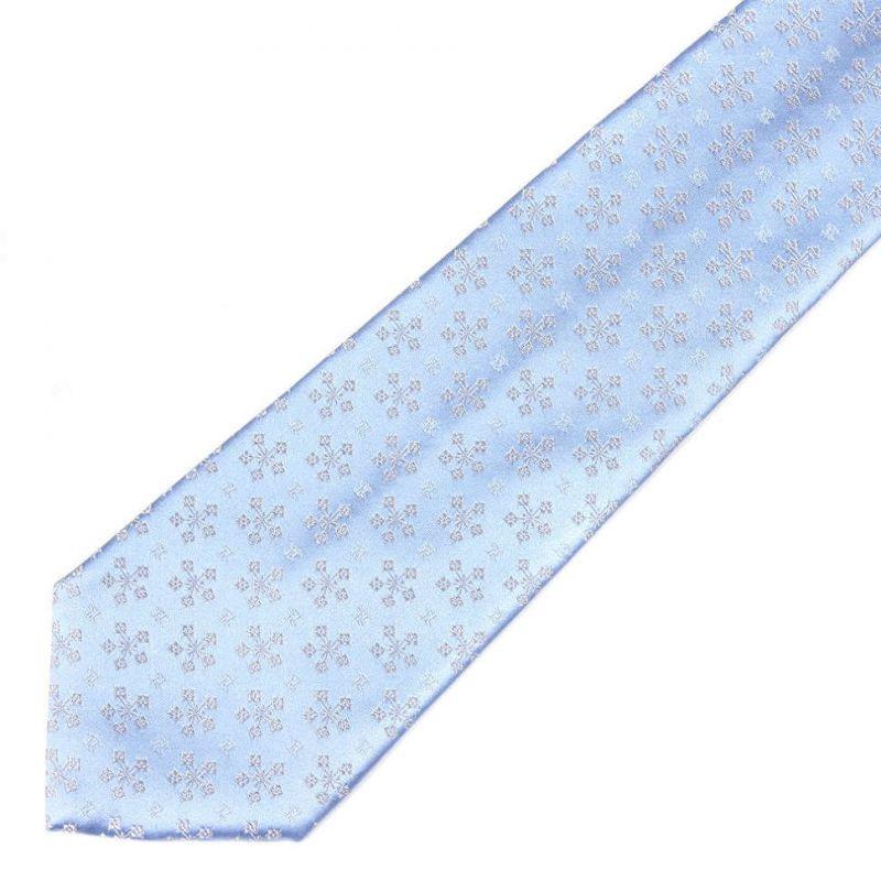 Голубой шёлковый галстук Celine со снежными узорами
