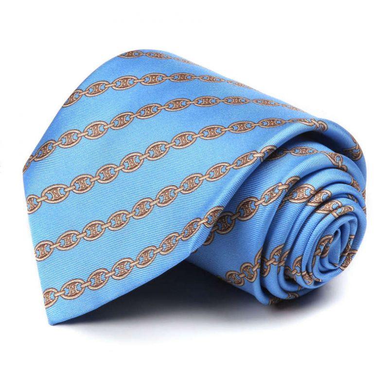 Голубой шёлковый галстук Celine с цепями