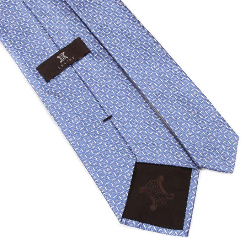 Светло-синий шёлковый галстук Celine в клетку