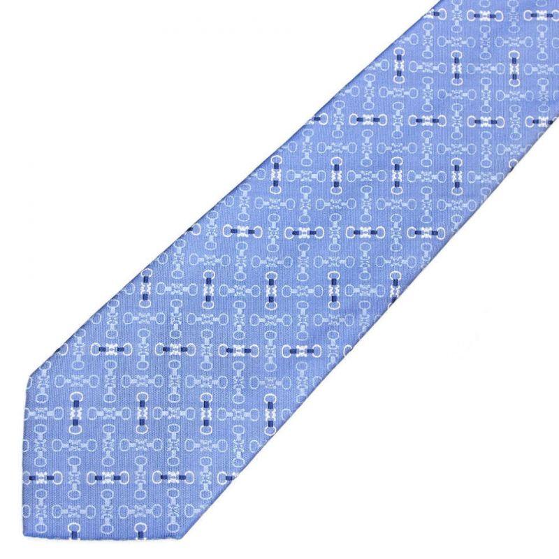 Голубой шёлковый галстук с принтом Celine