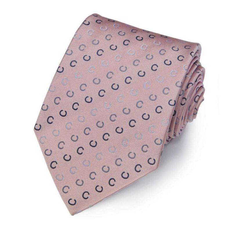 Бледно-розовый шёлковый галстук с логотипами Celine