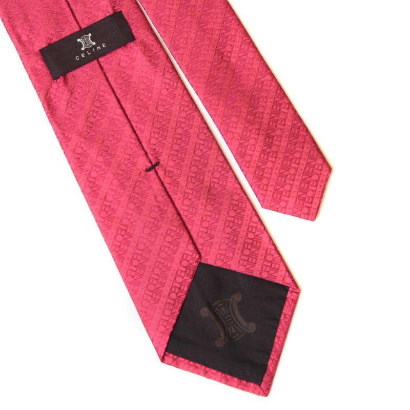 Розовый шёлковый галстук с надписями Celine