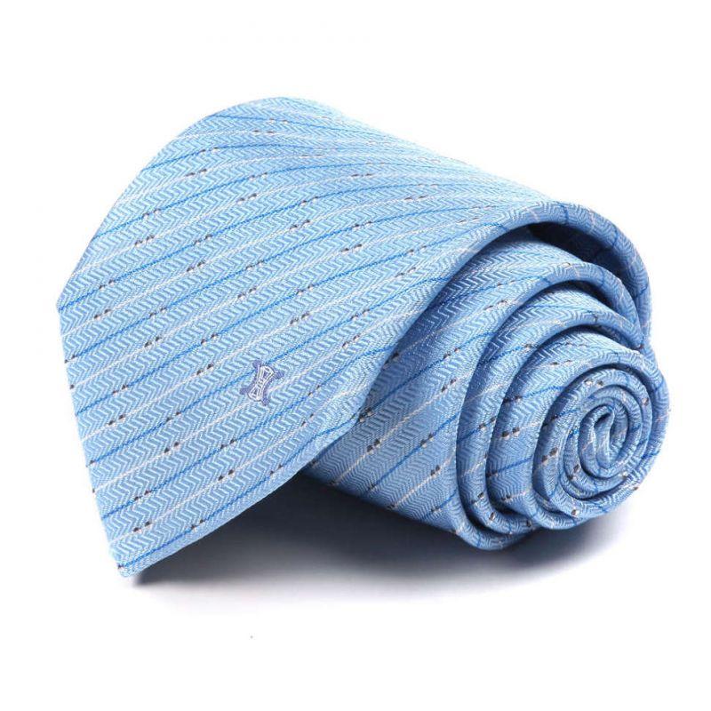 Голубой шёлковый галстук Celine в полоску