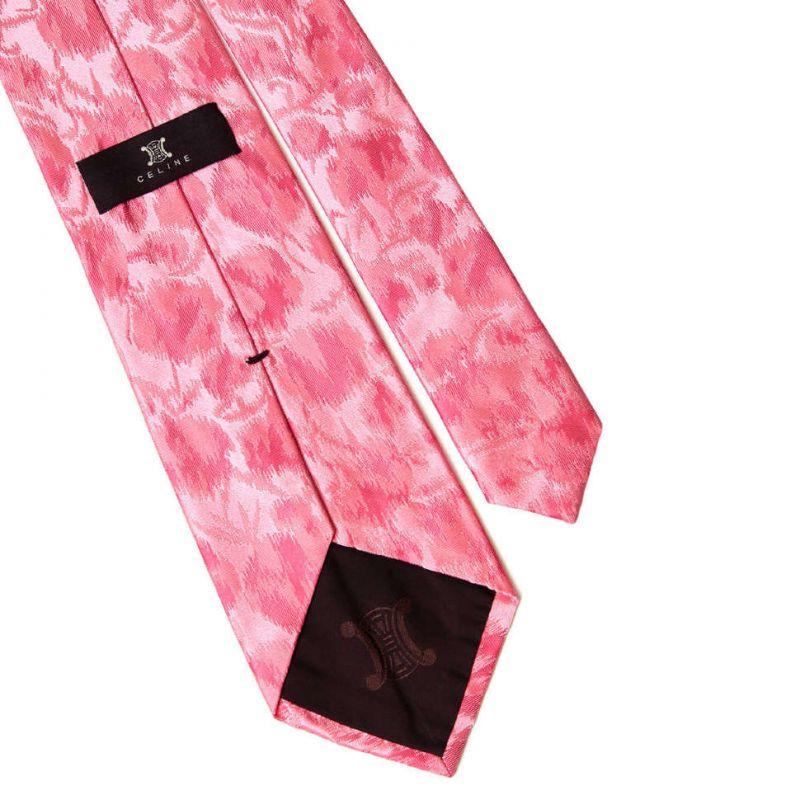 Розовый шёлковый галстук Celine с абстрактным узором
