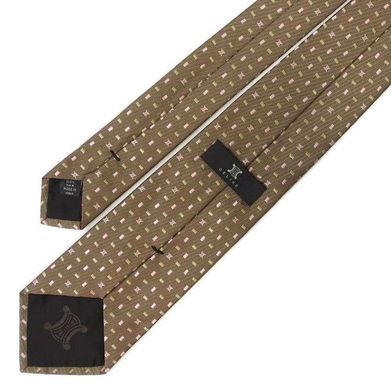 Коричневый галстук с мелким узором Celine из шёлка