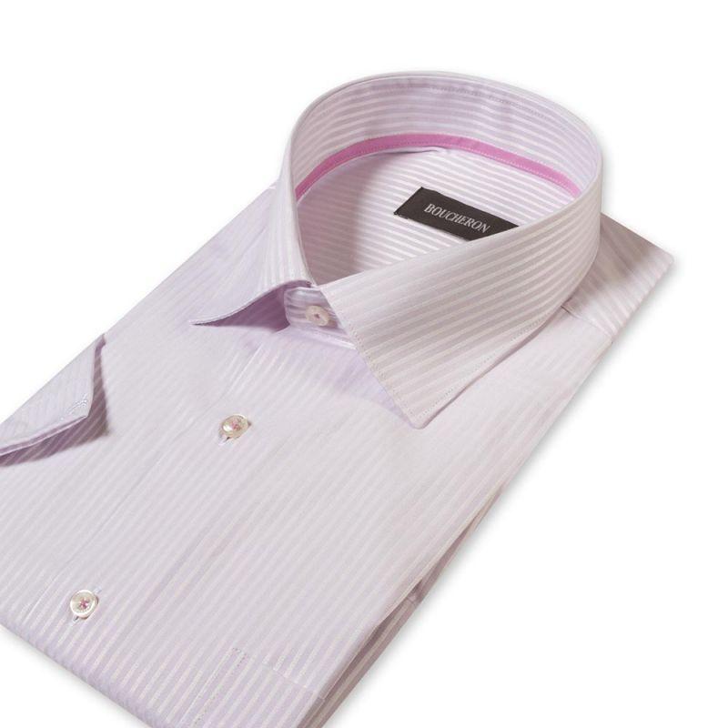 Рубашка белая в полоску с короткими рукавами неприталенная