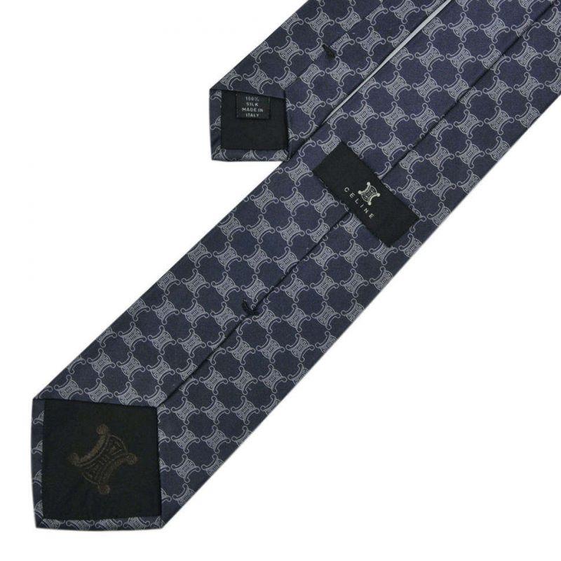 Синий шёлковый галстук с логотипами Celine