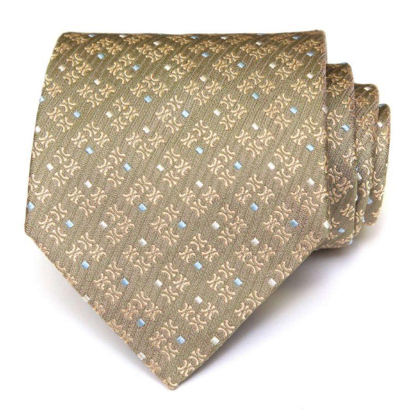 Бледно-зелёный шёлковый галстук с узором из логотипов Celine