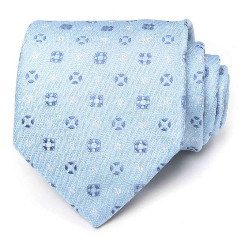 Голубой шёлковый галстук Celine в горошек