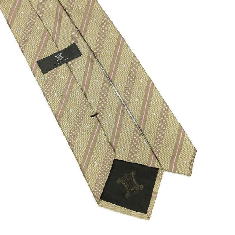Золотистый шёлковый галстук Celine в полоску