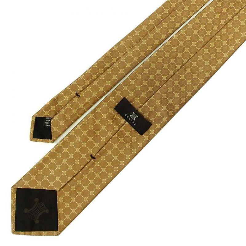 Песочный шёлковый галстук с логотипами Celine