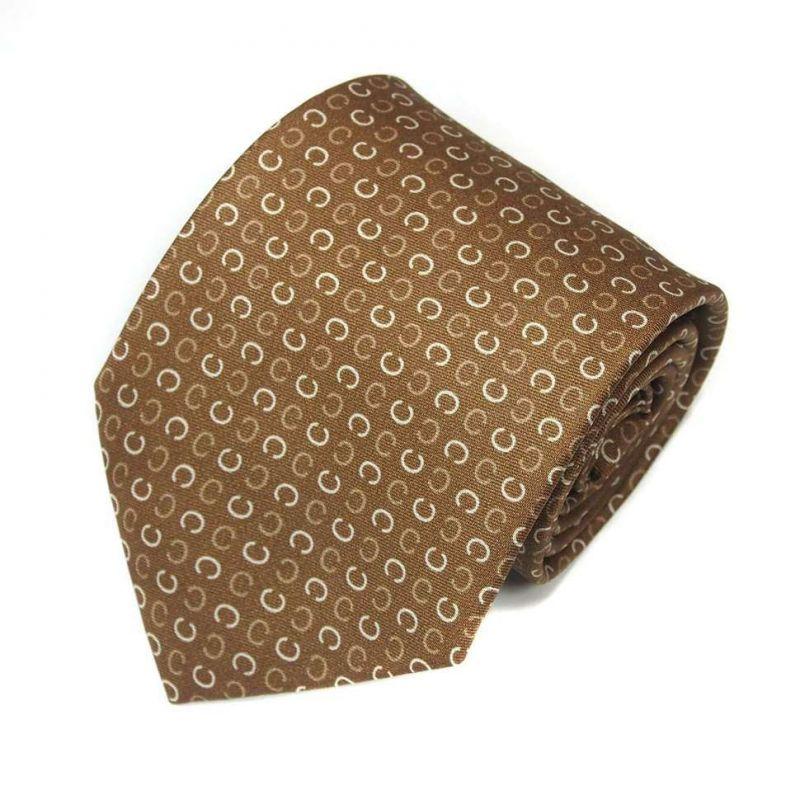 Светло-коричневый шёлковый галстук с узором Celine