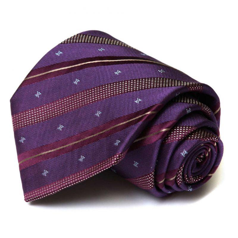Фиолетовый шёлковый галстук Celine в полоску