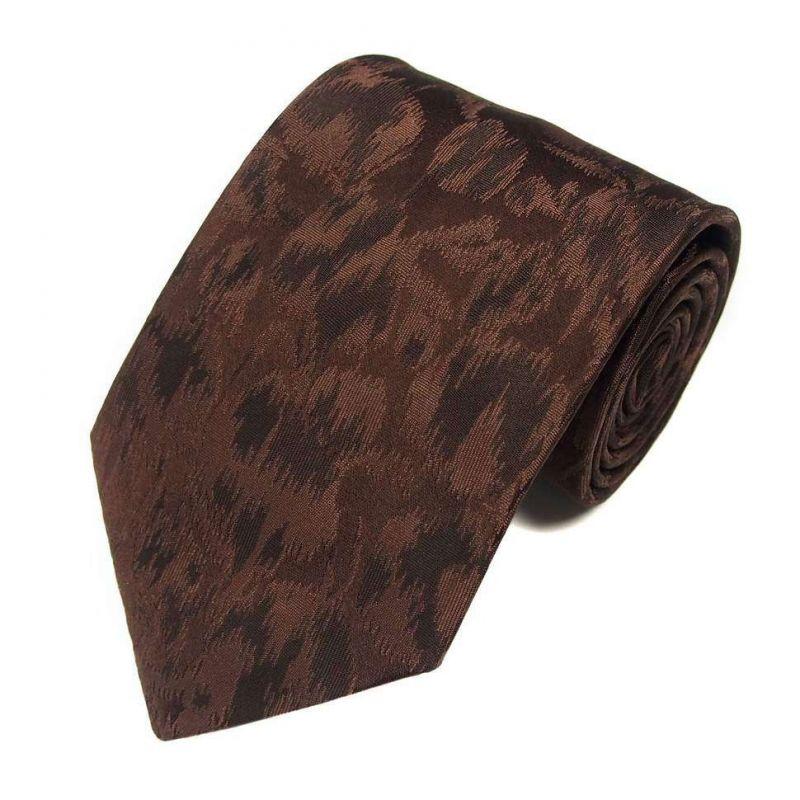 Коричневый шёлковый галстук Celine с абстрактным узором