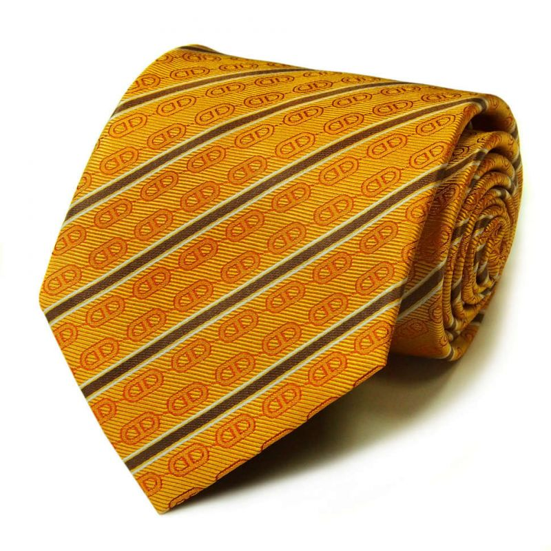 Жёлтый шёлковый галстук Celine с узором из цепей