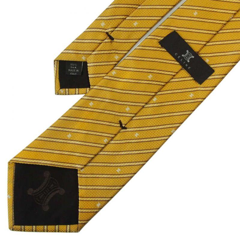 Жёлтый жаккардовый галстук Celine из шёлка