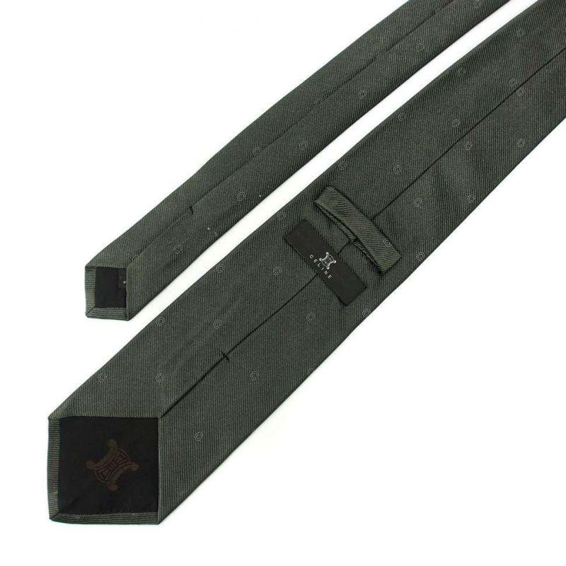 Тёмно-серый шёлковый галстук со значками Celine