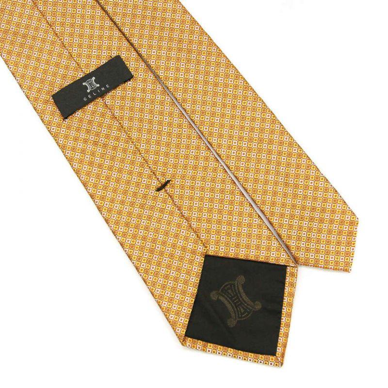 Оранжевый шёлковый галстук Celine в клетку