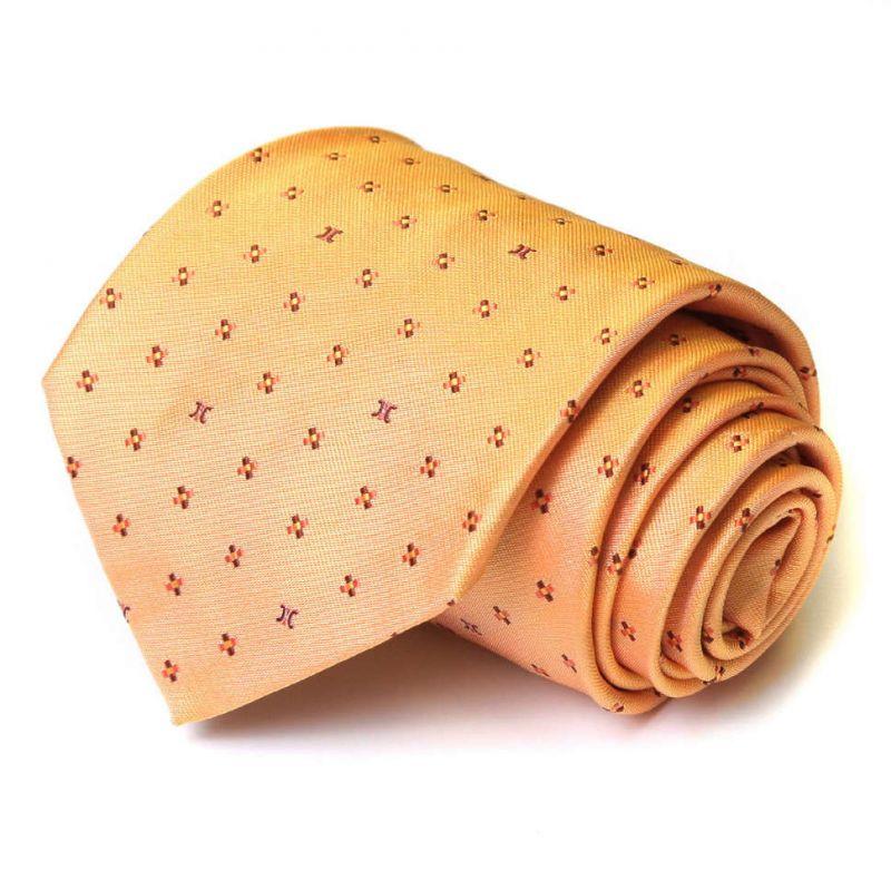 Оранжевый шёлковый галстук Celine с крестиками