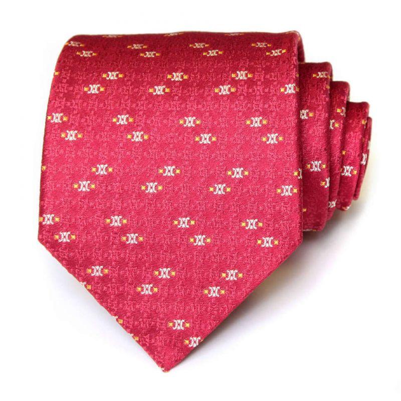Малиновый шёлковый галстук Celine с мелким рисунком