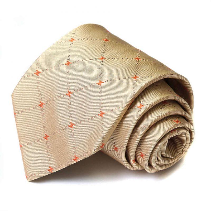 Бежевый шёлковый галстук с рисунком из надписей Celine