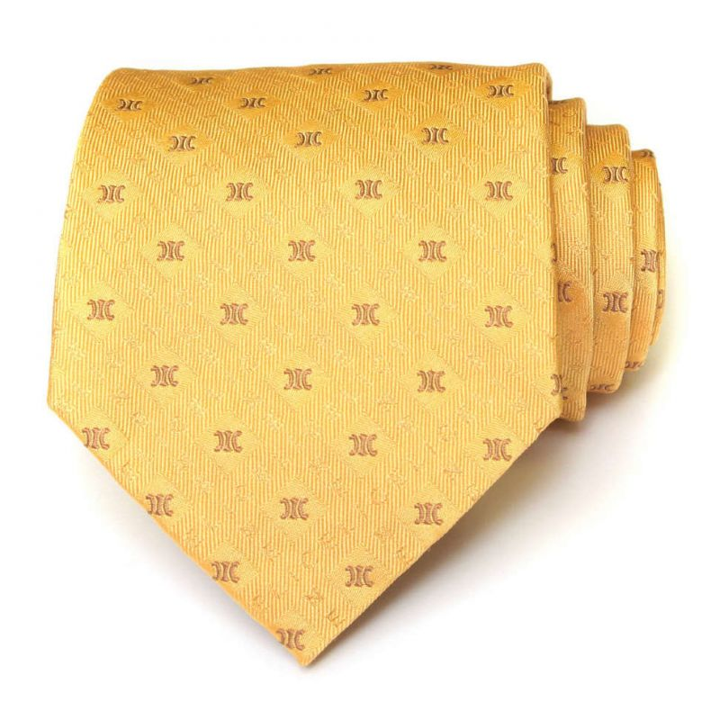 Жёлтый шёлковый галстук со знаками Celine
