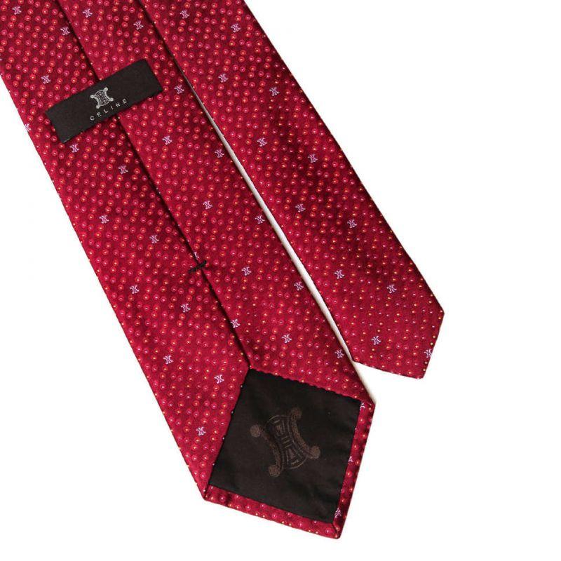 Красный шёлковый галстук Celine в горох