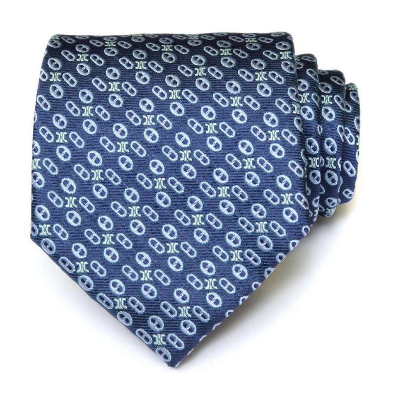 Синий шёлковый галстук Celine с узором