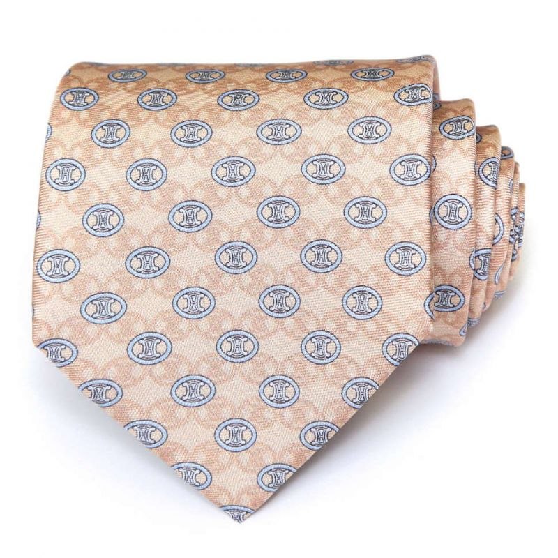 Бежевый шёлковый галстук Celine с голубыми логотипами