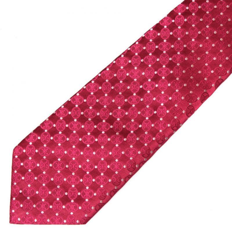 Малиновый шёлковый галстук с узором Celine