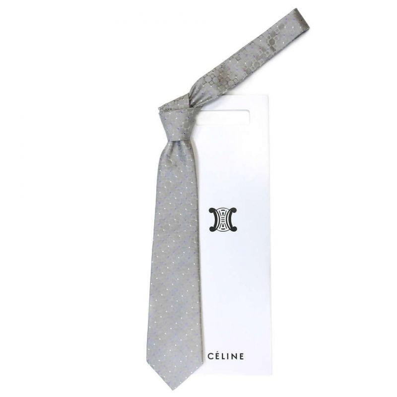 Серый шёлковый галстук Celine в горошек