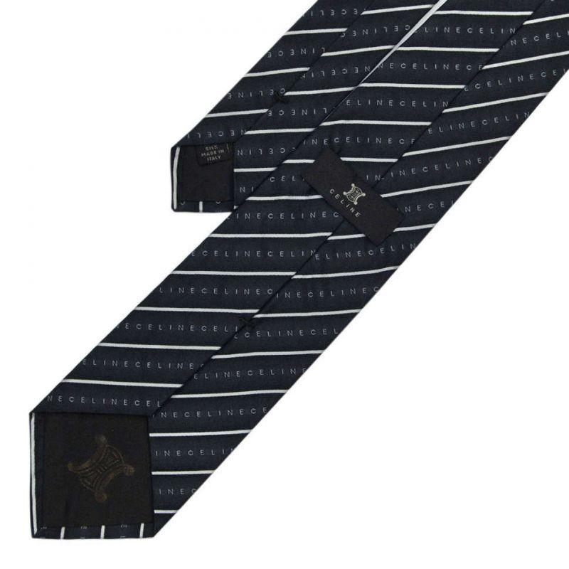 Чёрный шёлковый галстук Celine в полоску