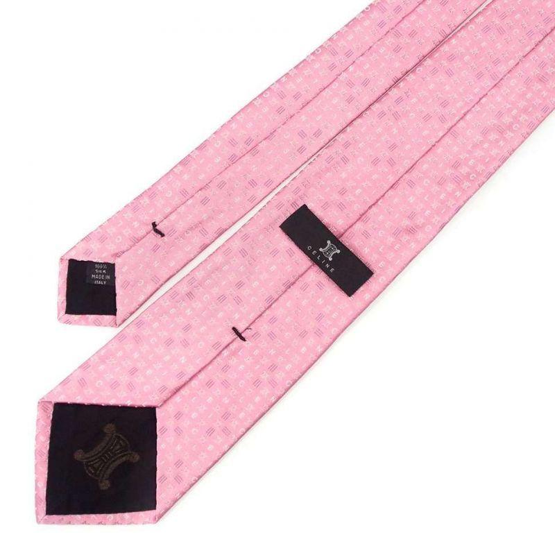 Розовый шёлковый галстук Celine со знаками бренда