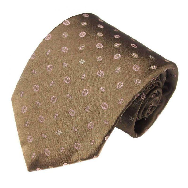 Оливковый шёлковый галстук Celine со знаками бренда