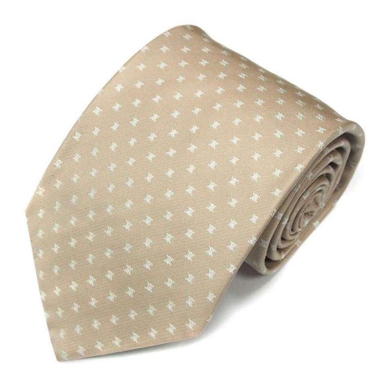 Бежевый шёлковый галстук c логотипами Celine