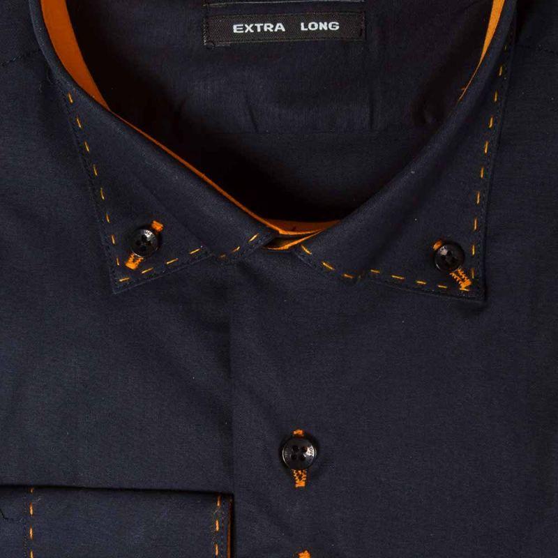Рубашка тёмно-синяя, зауженная, удлинённая