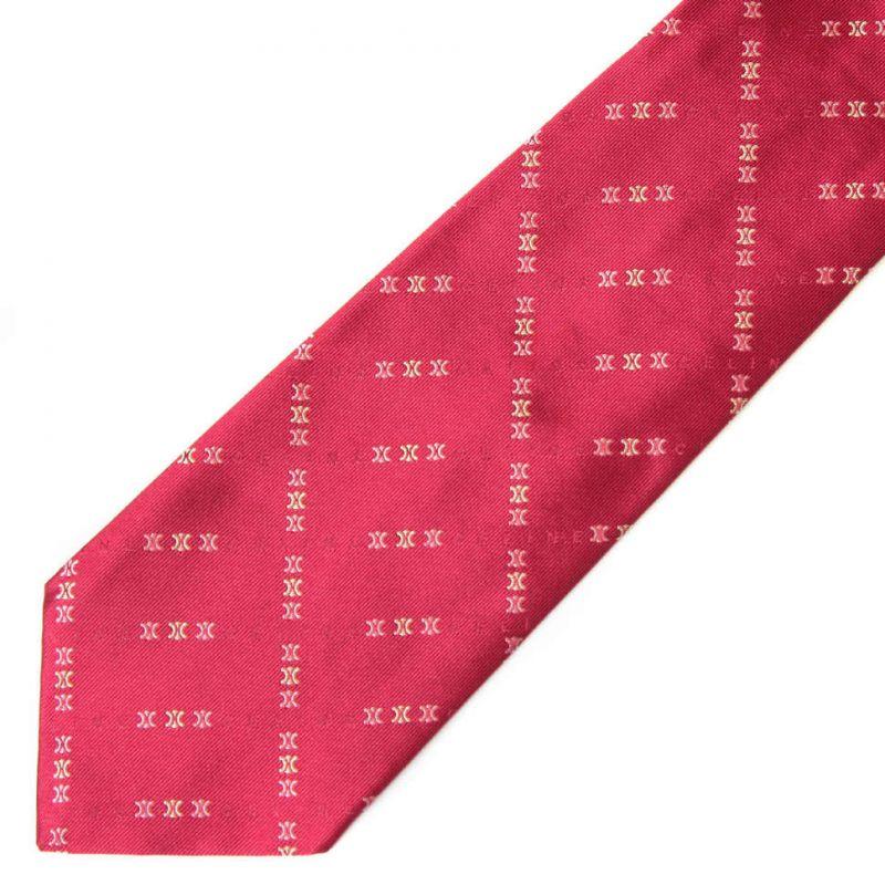 Светло-вишнёвый шёлковый галстук c логотипами Celine