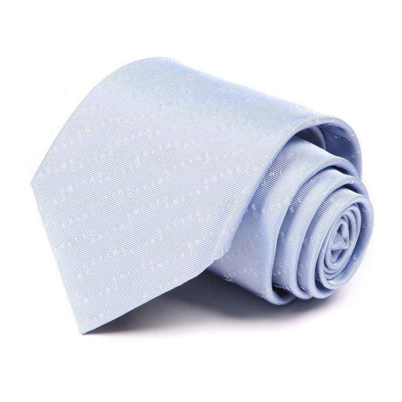 Светло-голубой шёлковый галстук с надписями Celine