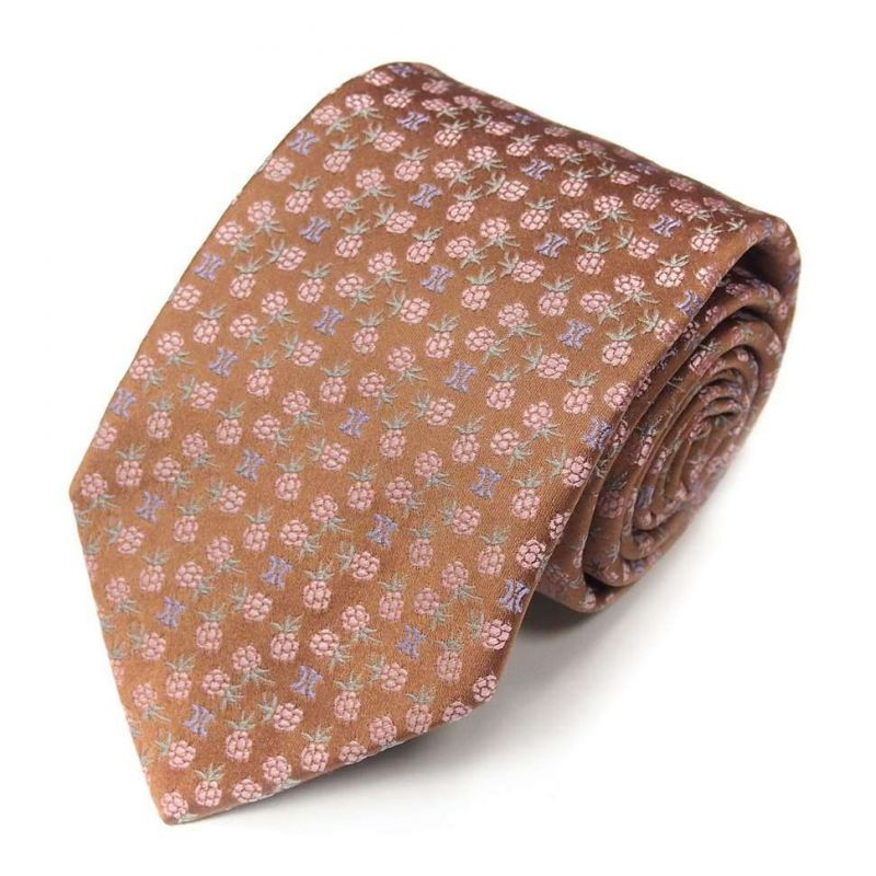 Коричневый шёлковый галстук Celine рисунок - ягодки