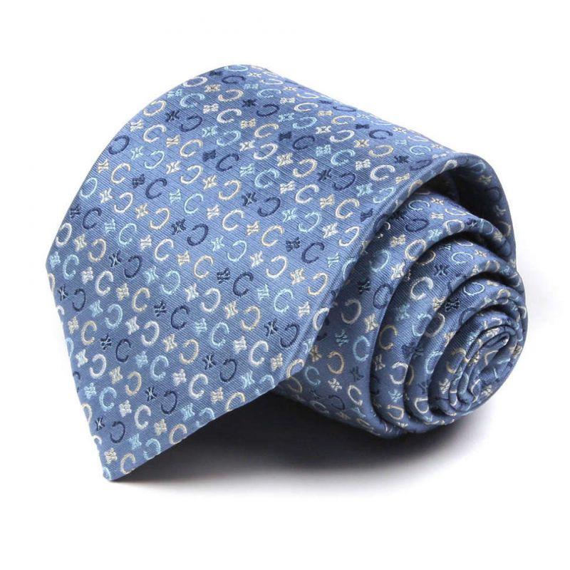 Синий шёлковый галстук со знаками бренда Celine