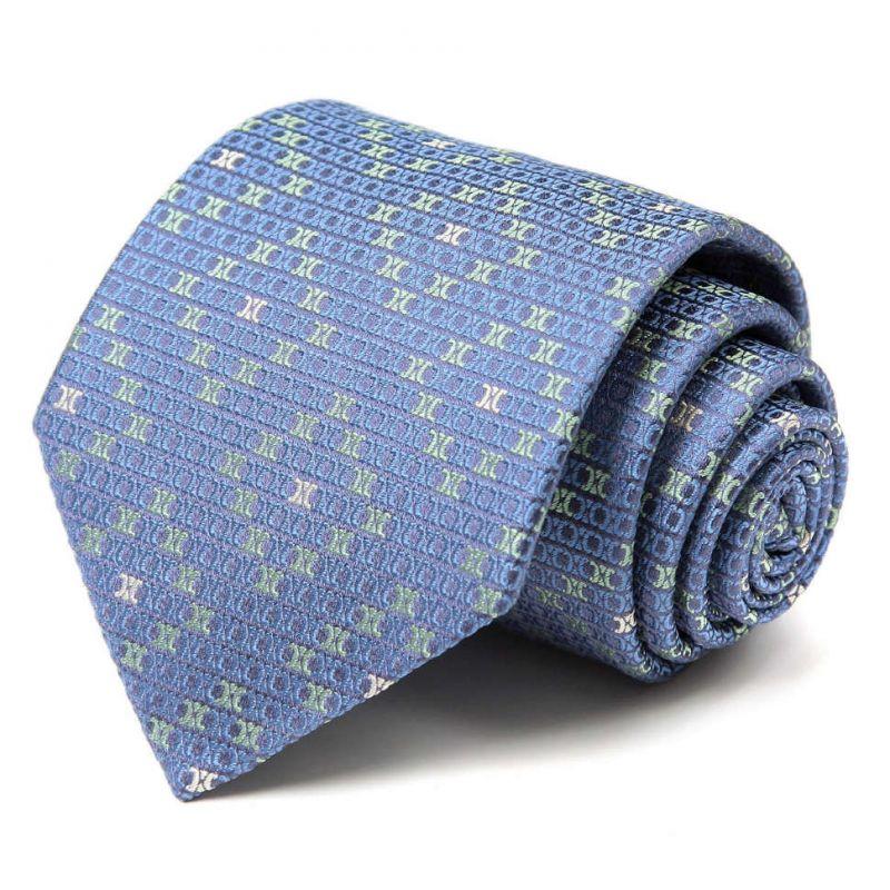 Голубой шёлковый галстук Celine с мелким рисунком