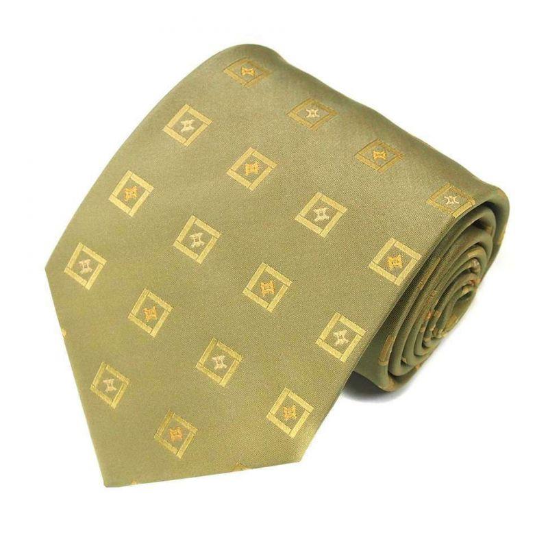 Салатовый шёлковый галстук Celine с клетками