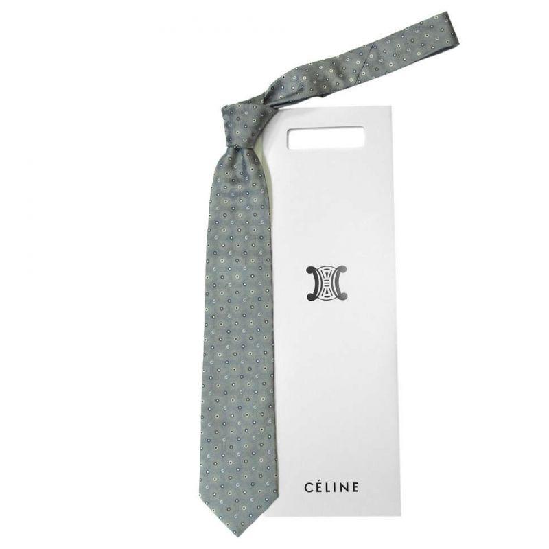 Серый шёлковый галстук Celine с кругами