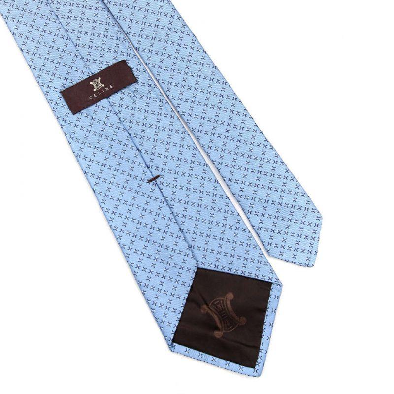 Голубой шёлковый галстук Celine с рисунком