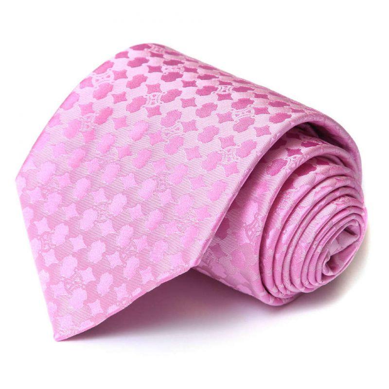 Розовый шёлковый галстук Celine с рисунком