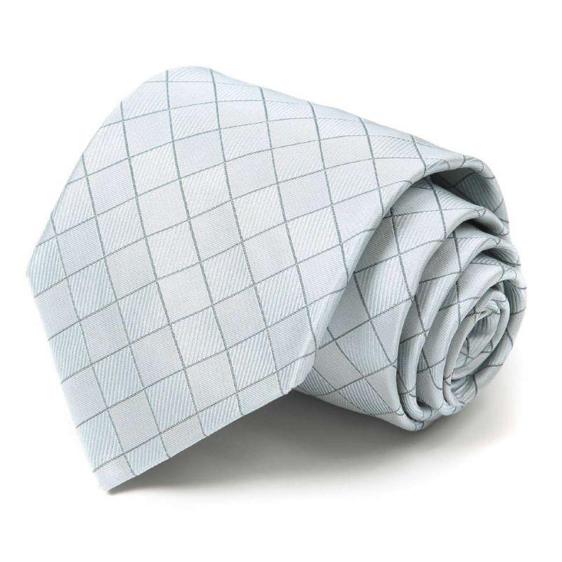 Светло-серый шёлковый галстук Celine в клетку