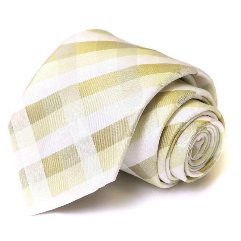 Светло-салатовый шёлковый галстук Celine в клетку