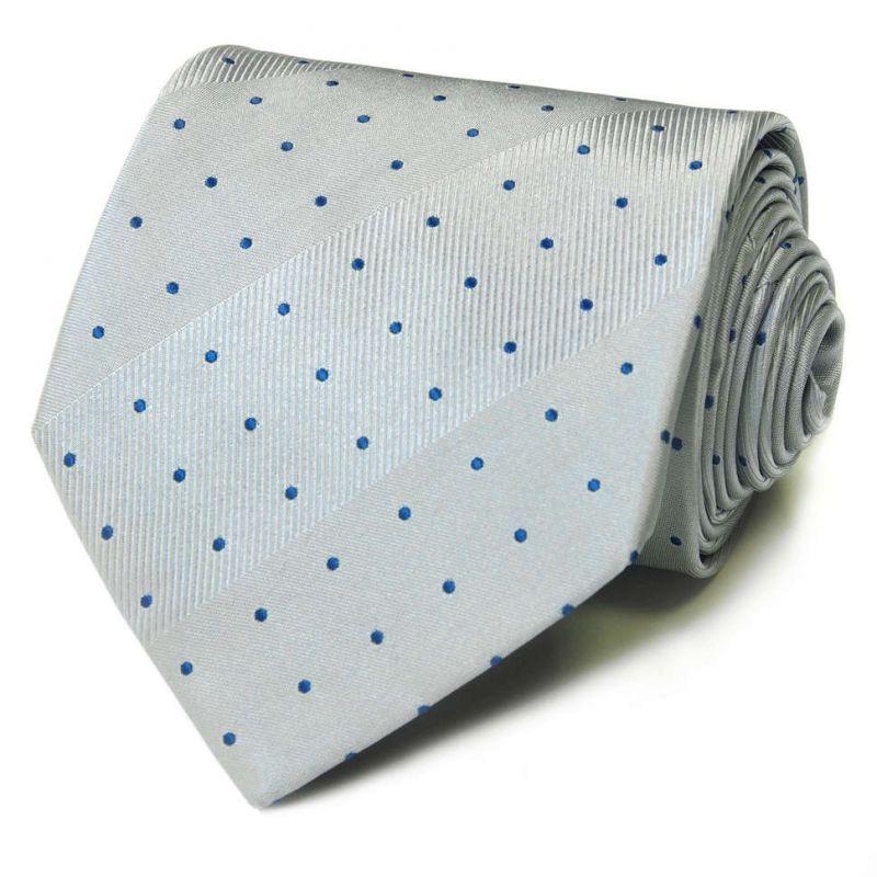 Серый шёлковый галстук Celine в синюю точку