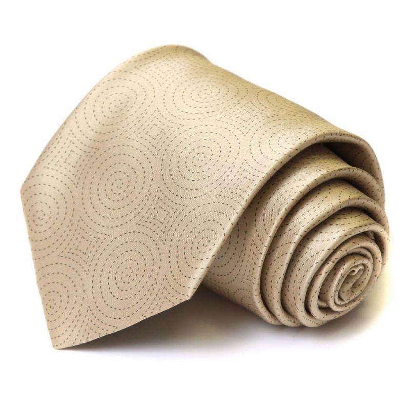 Бежевый шёлковый галстук Celine с узором